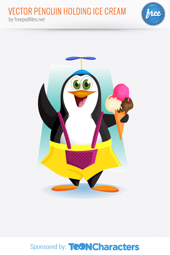 Vector Penguin Holding Ice Cream