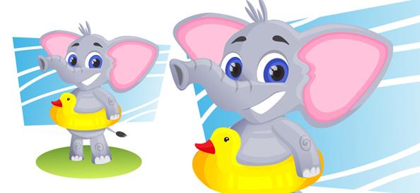 Vector Elephant With Swim Ring