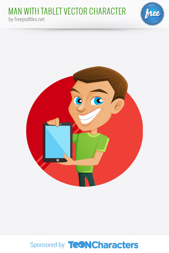 Man With Tablet Vector Character