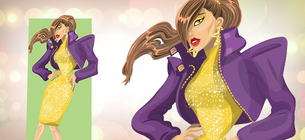 Stylish Disco Woman Vector Character