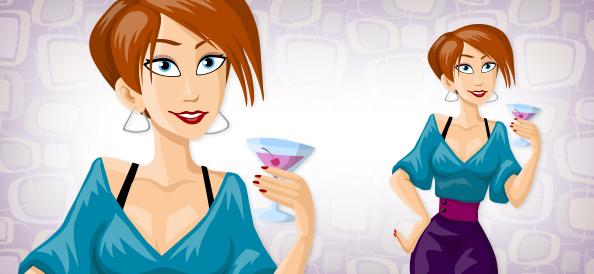Girl with Drink Cartoon Vector