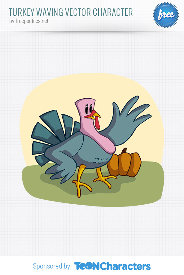 Turkey Waving Vector Character
