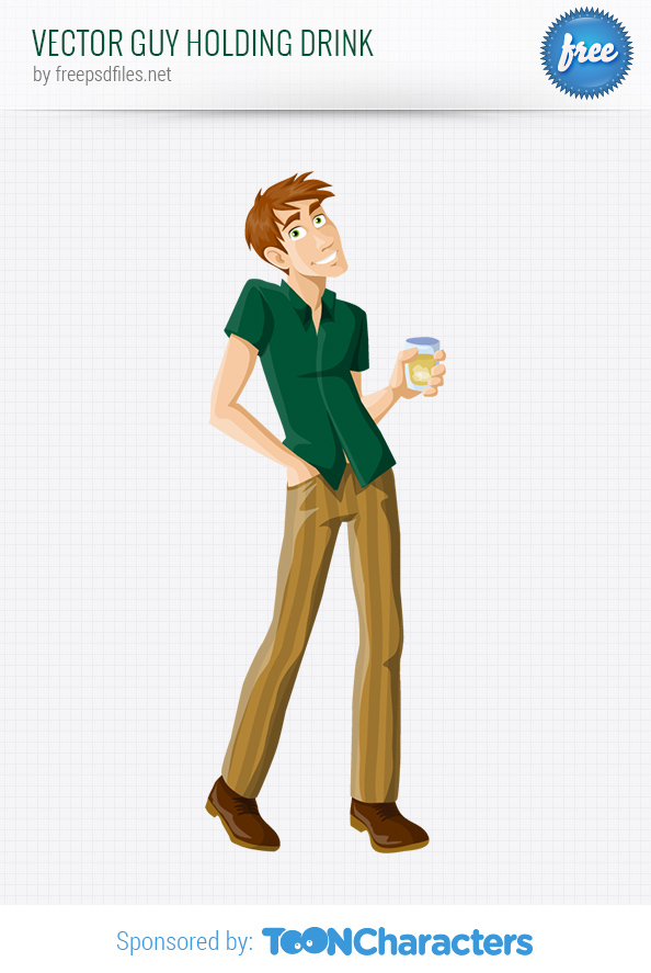 Vector Guy Holding Drink