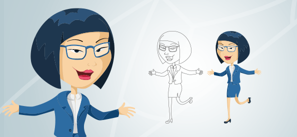 Business Asian Woman Cartoon Character