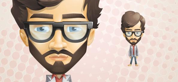 Flat Design Character design of a Beard Guy