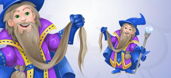 Vector Wizard Cartoon Mascot With a Long Beard