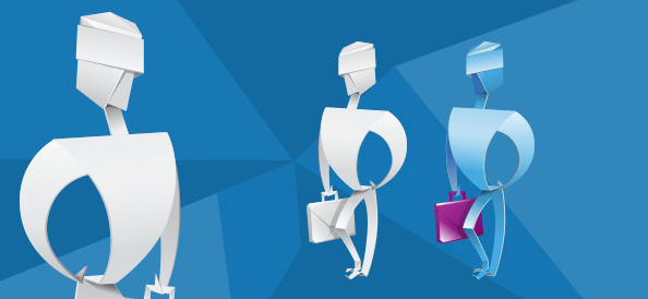 Origami Man with a Briefcase