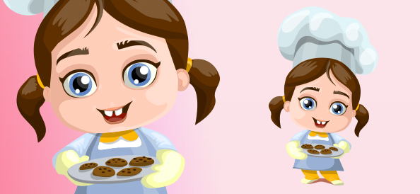 Little Vector Girl With a Cookies
