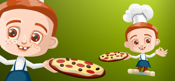Vector Boy Holding Pizza