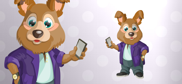 Vector Dog Holding a Smartphone
