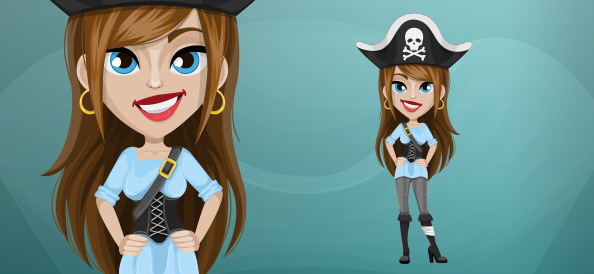 Attractive Pirate Woman Character