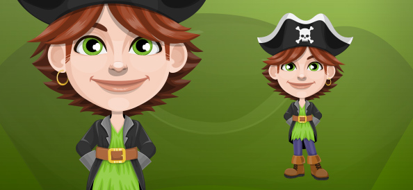 Curious Pirate Boy with Hat