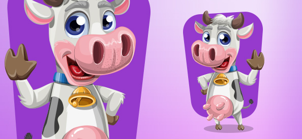 Friendly Cow Vector Character