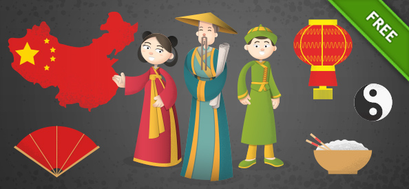 Chinese Cartoon Characters Vector Set
