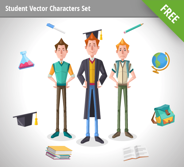 Student Vector Characters Set free