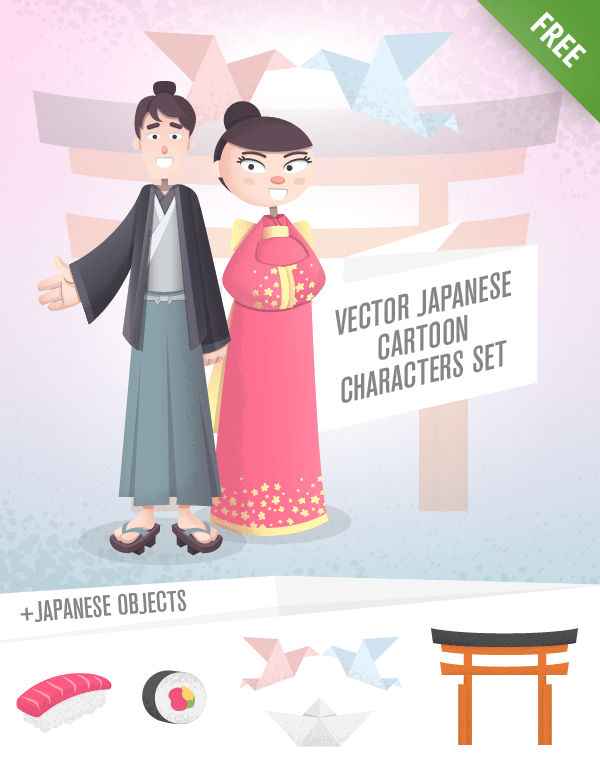 Vector Japanese Cartoon Characters free