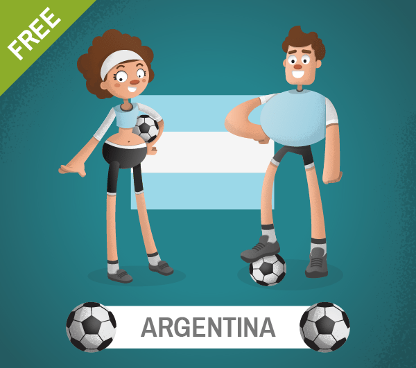 free argentina Soccer Cartoon Characters