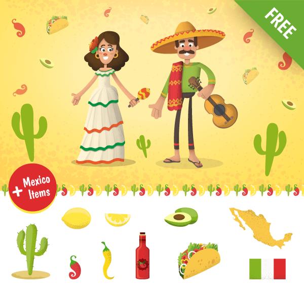 mexican cartoon characters set, items, cactus, lemon, mexico map, chili, avocado, mexico vector characters