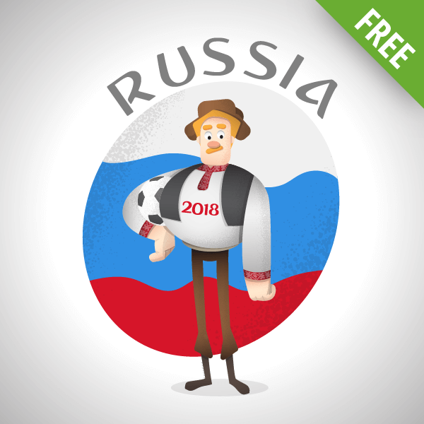 russia world cup vector male character