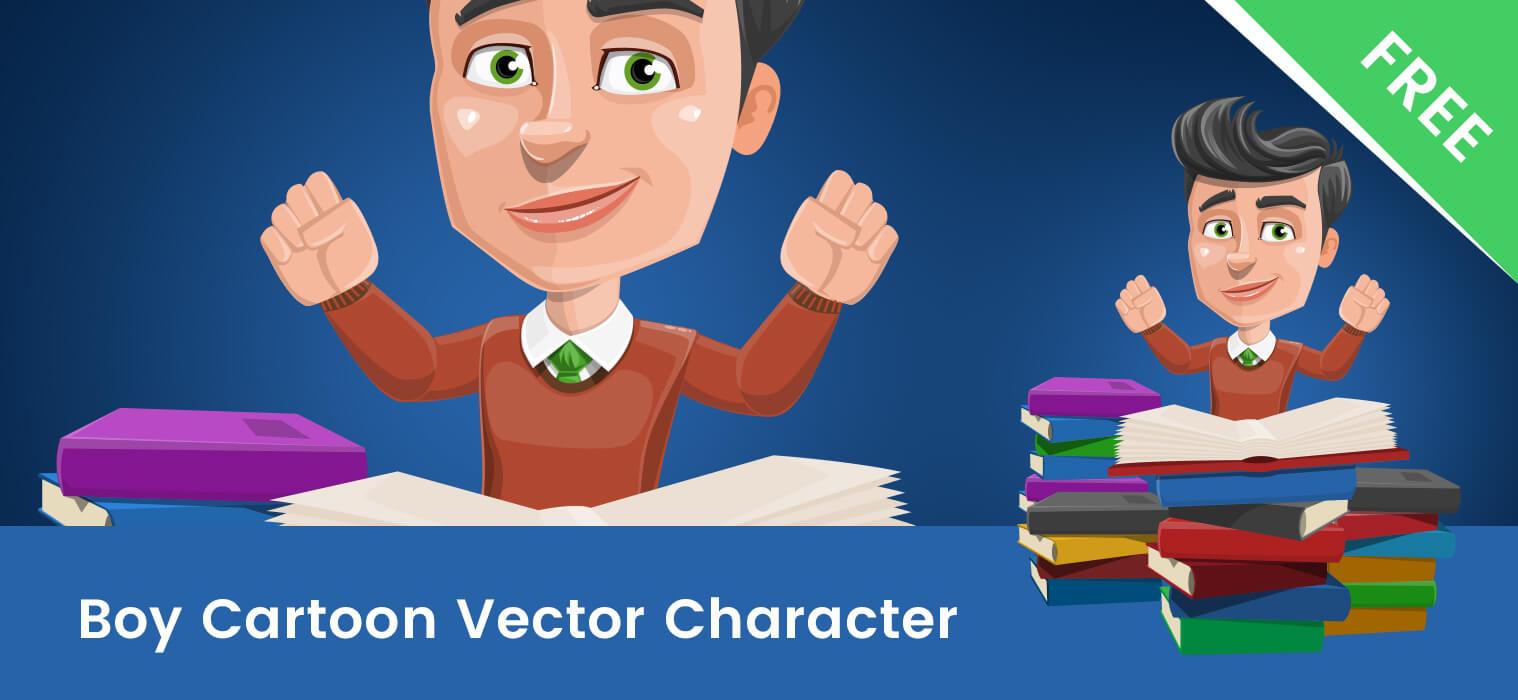 Smart Cartoon Boy Vector