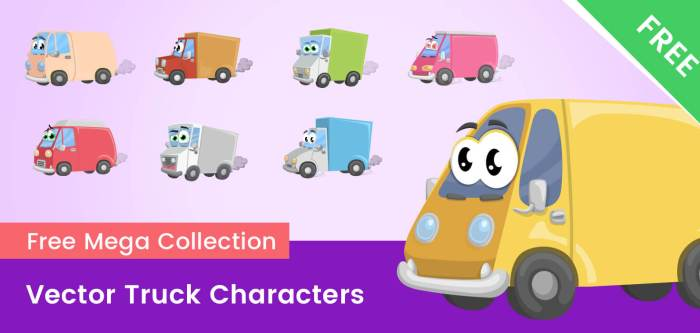 Cartoon Truck Vector Characters – Free mega collection