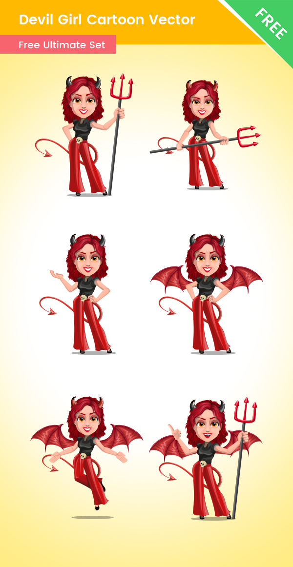 Devil Girl Cartoon Vector Set