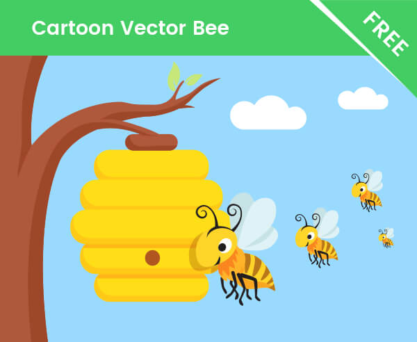 FREE Bee Cartoon Character