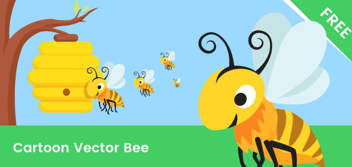 Bee Cartoon Vector Character