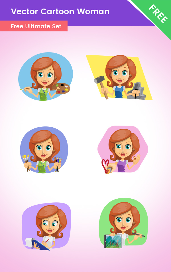 Free Vector Cartoon Woman Set 1