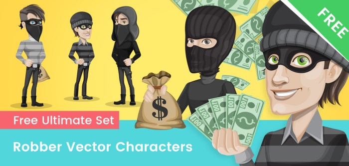 Robber Cartoon Vector Set