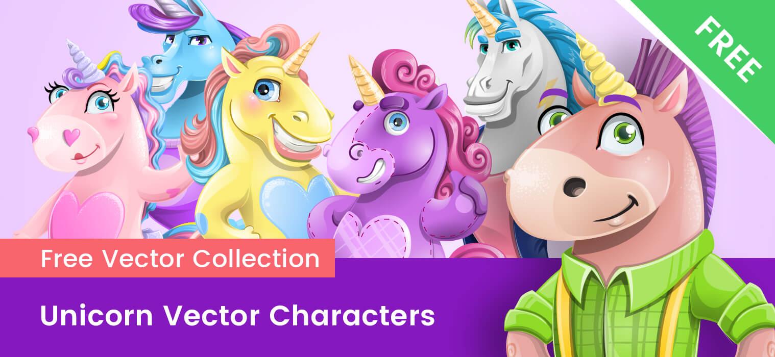 Vector Unicorn Cartoon Free Ultimate Set