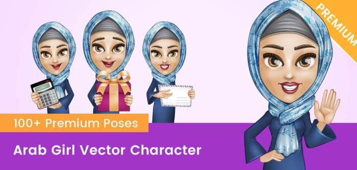 Arab Girl Vector Character
