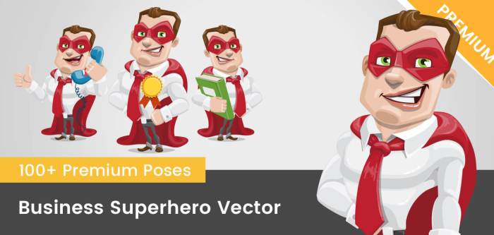 Business Superhero Vector Cartoon