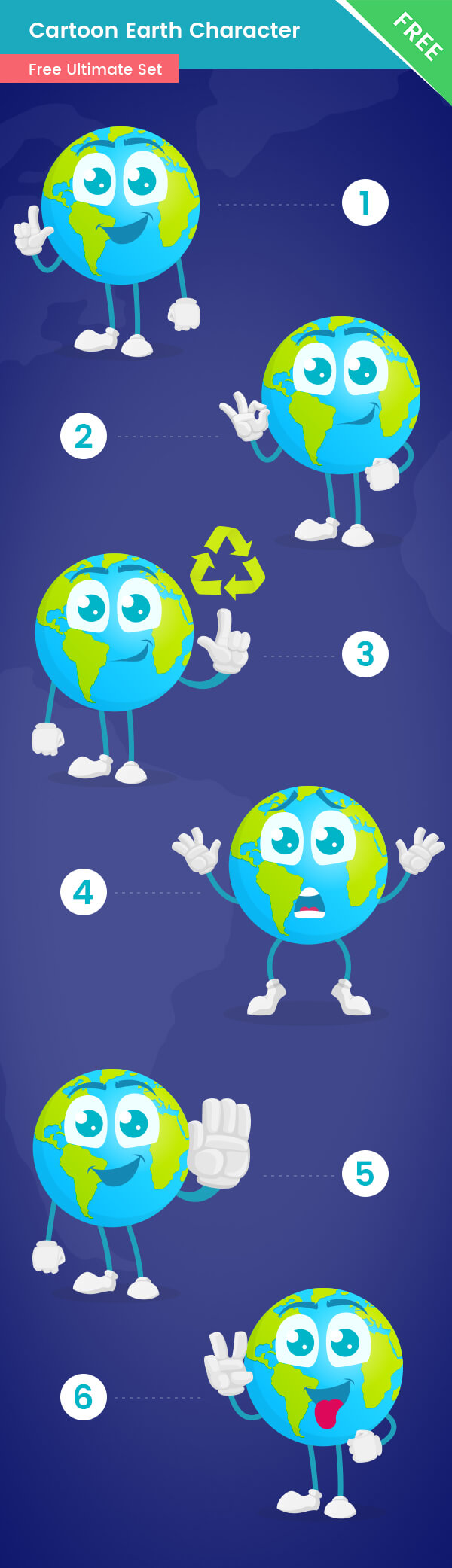 Earth Cartoon Vector Set Free