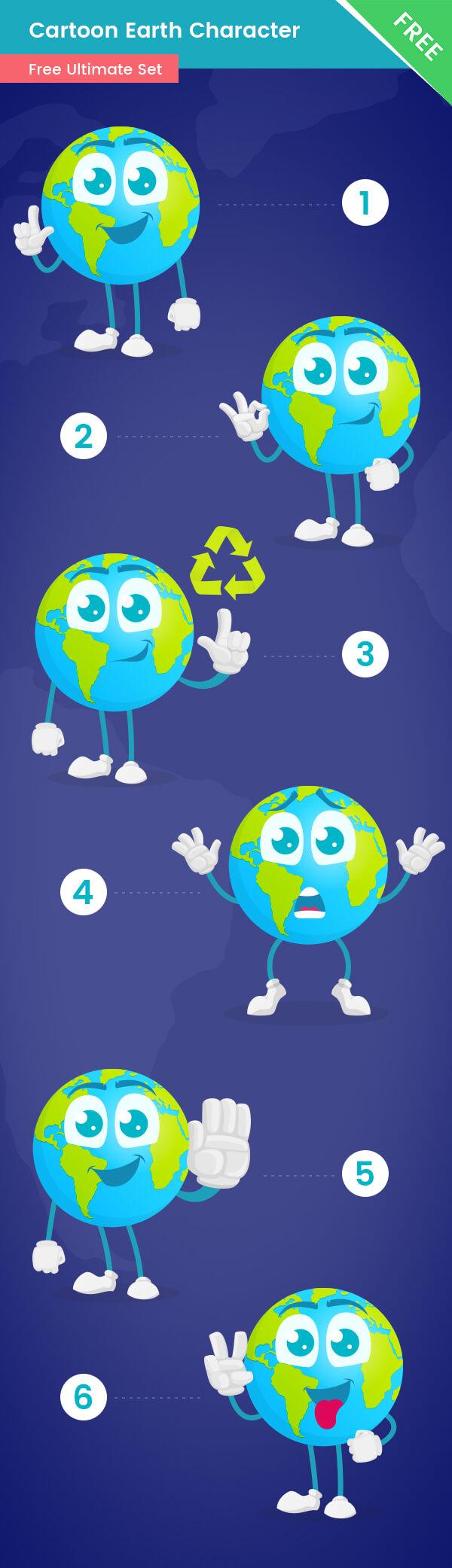 Earth Cartoon Vector Set Free
