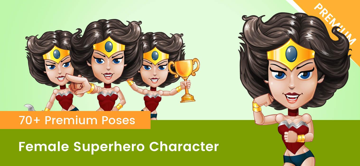 Female Superhero Vector Cartoon