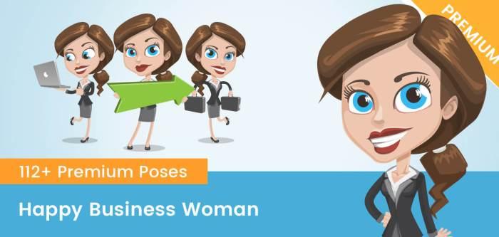 Happy Business Woman Cartoon
