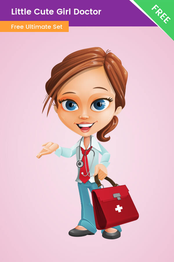 Little Cute Girl Doctor Clipart