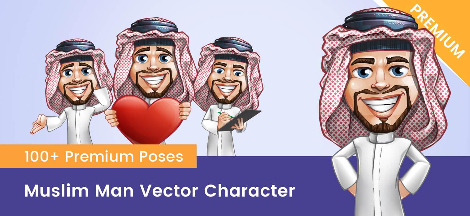 Muslim Man Vector Character