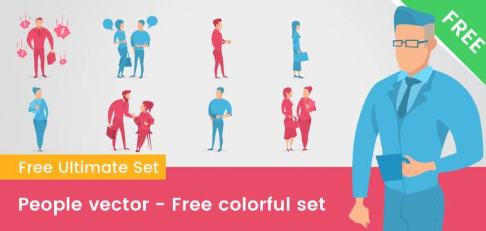 Free Colorful People Vector Set