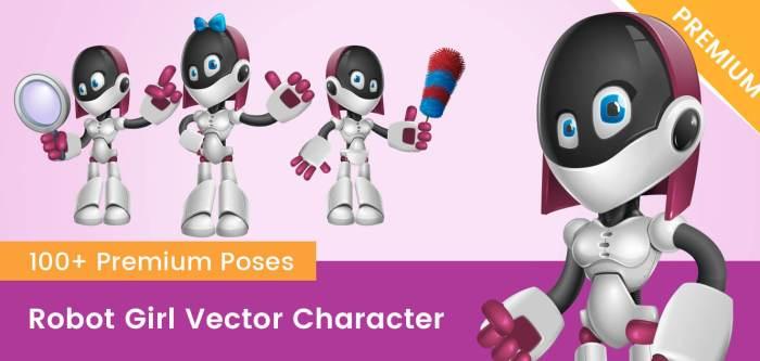 Robot Girl Vector Cartoon