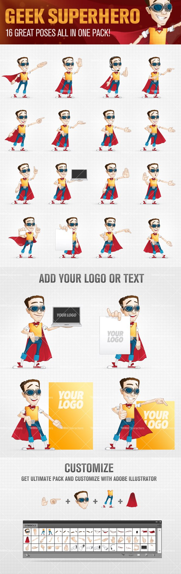Superhero Geek Vector Character