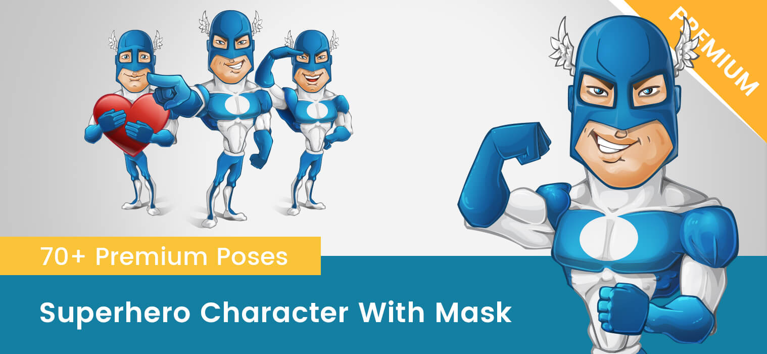 Superhero Vector Character with a Mask