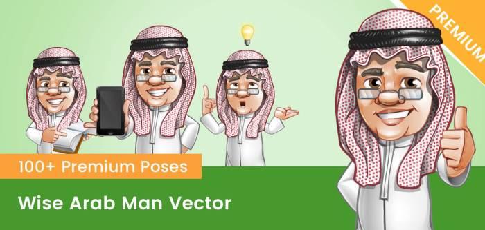 Wise Arab Man Vector Character