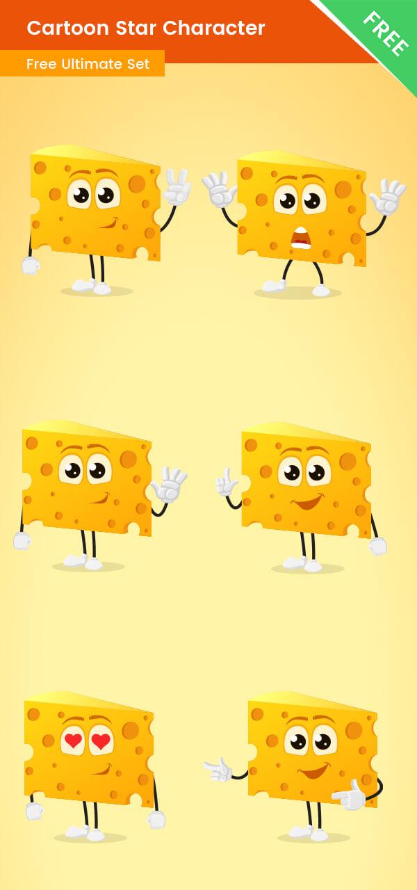 Cartoon Cheese Vector Set Free