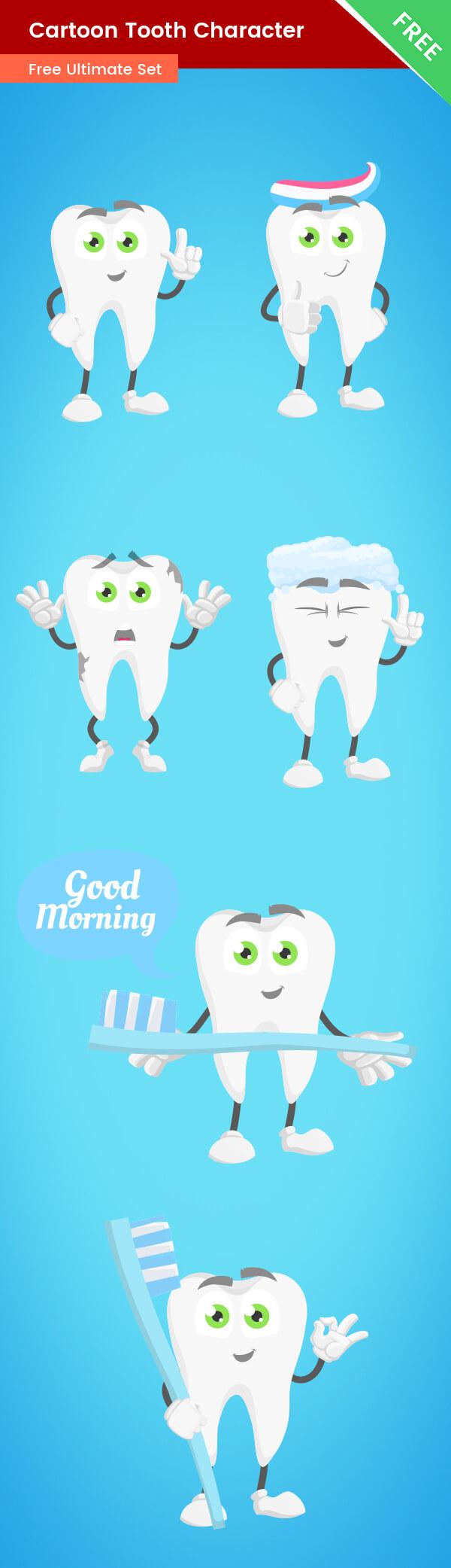 Cartoon Tooth Vector Set freebie
