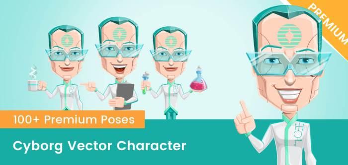 Cyborg Vector Character