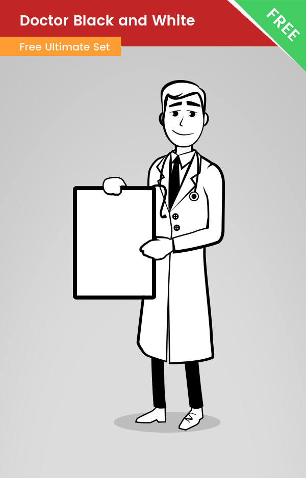 Doctor Cartoon Black And White