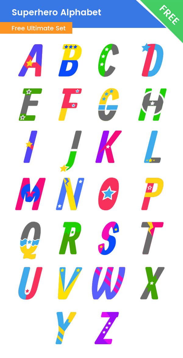 Superhero Clipart Alphabet