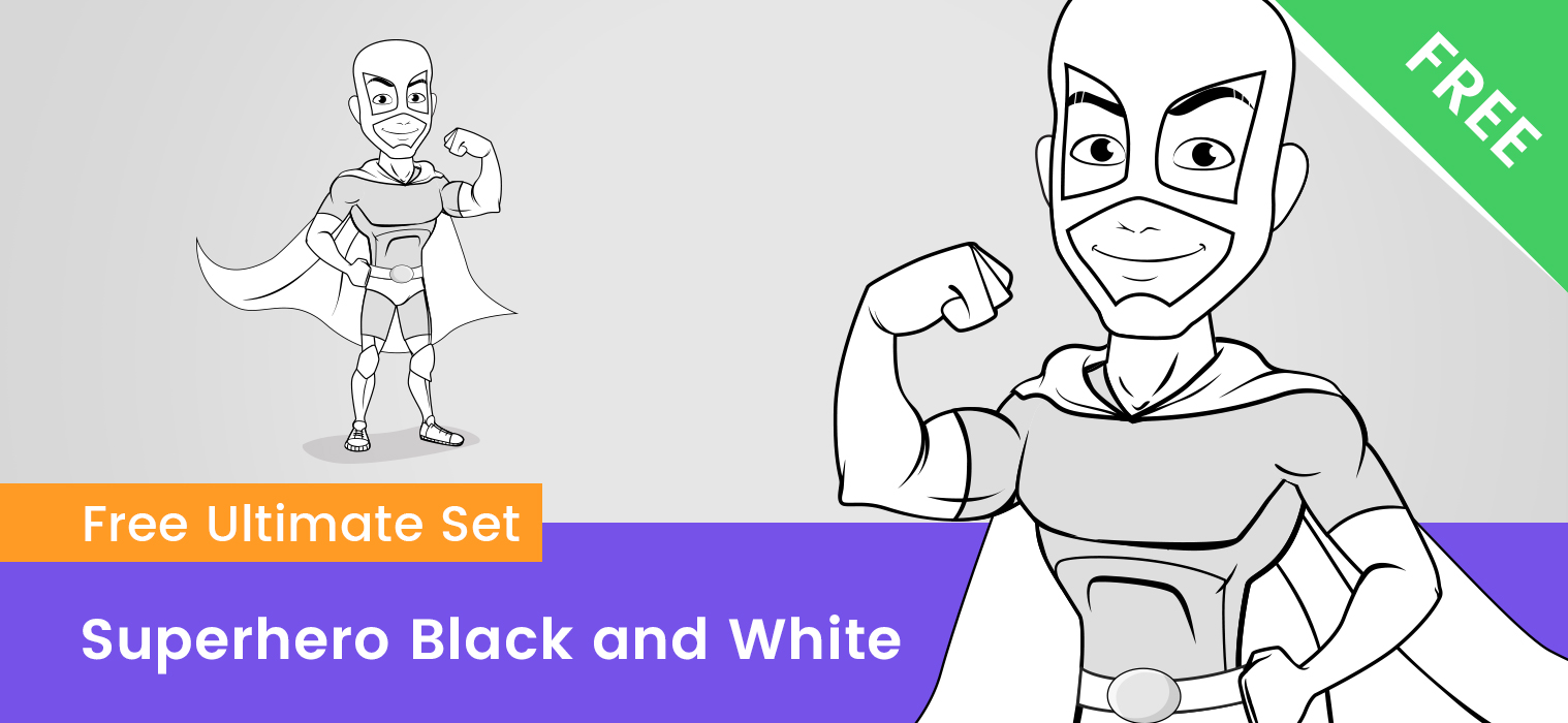 Superhero Vector Black and White